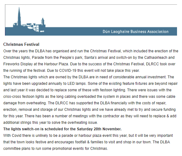 Dún Laoghaire Business Association October Newsletter Out – Christmas Plans – New Committee